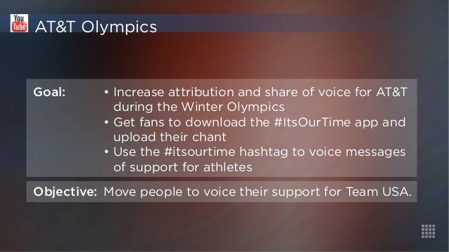 AT&T Olympics  Goal: • Increase attribution and share of voice for AT&T  during the Winter Olympics  • Get fans to downloa...
