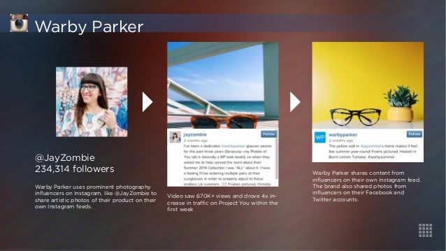 @JayZombie  234,314 followers  Warby Parker uses prominent photography  influencers on Instagram, like @JayZombie to  shar...
