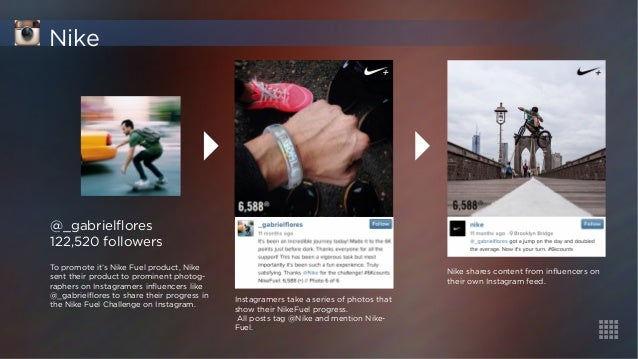 @_gabrielflores  122,520 followers  To promote it's Nike Fuel product, Nike  sent their product to prominent photog-rapher...