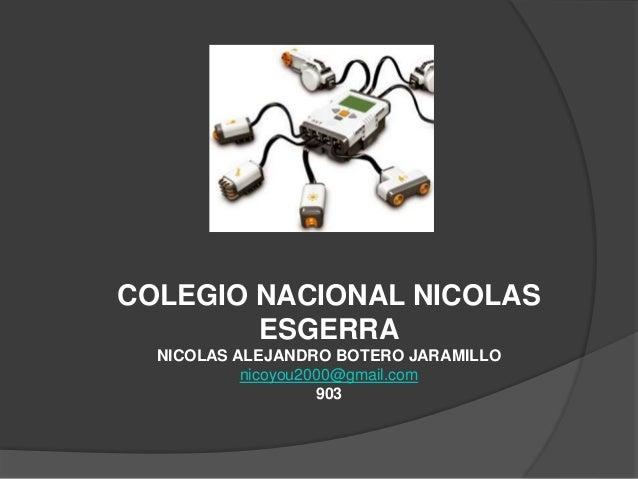COLEGIO NACIONAL NICOLAS ESGERRA NICOLAS ALEJANDRO BOTERO JARAMILLO nicoyou2000@gmail.com 903