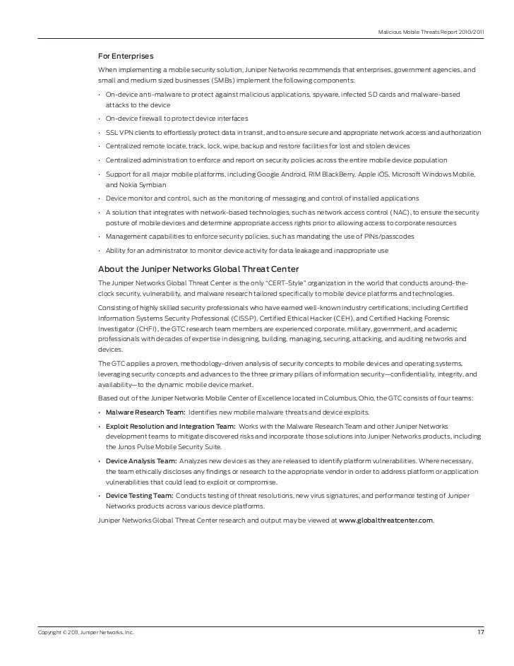 Malicious Mobile Threats report 2010/2011                         ForEnterprises                         When implementin...