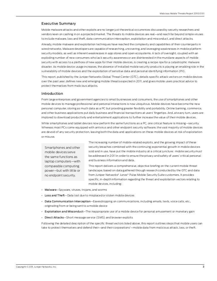Malicious Mobile Threats report 2010/2011                         ExecutiveSummary                         Mobile malware...