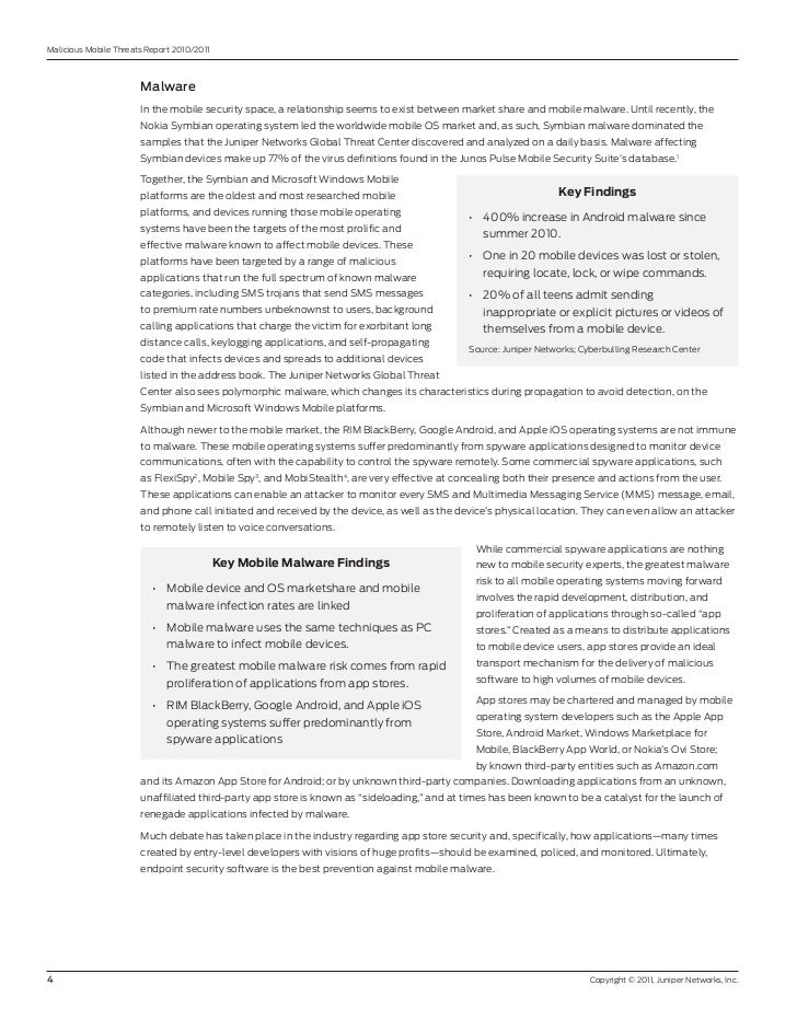 Malicious Mobile Threats report 2010/2011                       Malware                       In the mobile security space...