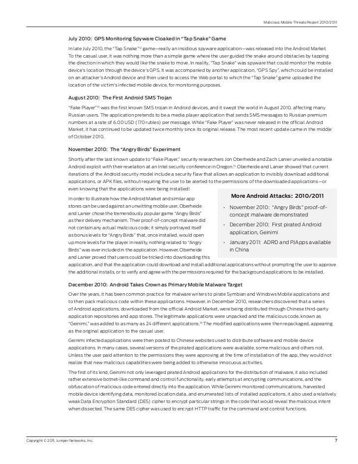 "Malicious Mobile Threats report 2010/2011                         July2010:GPSMonitoringSpywareCloakedin""TapSnake..."