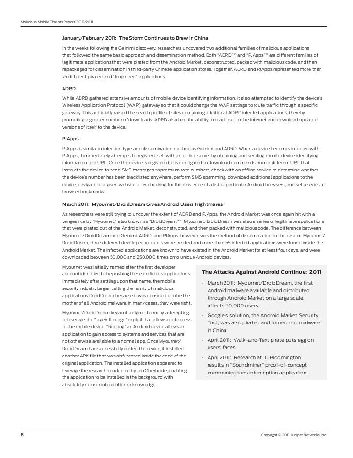 Malicious Mobile Threats report 2010/2011                       January/February2011:TheStormContinuestoBrewinChi...