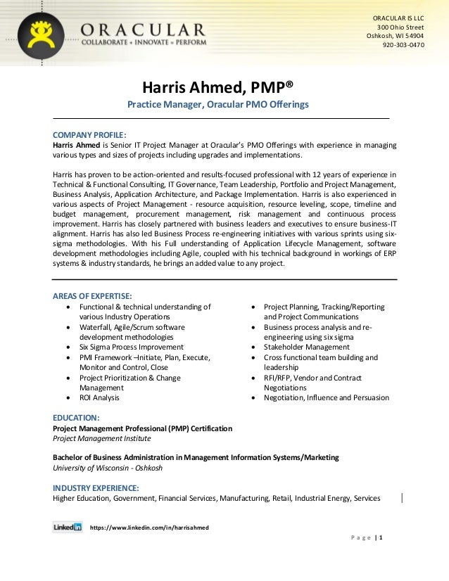 Harris Ahmed Pmp Senior Project Manager