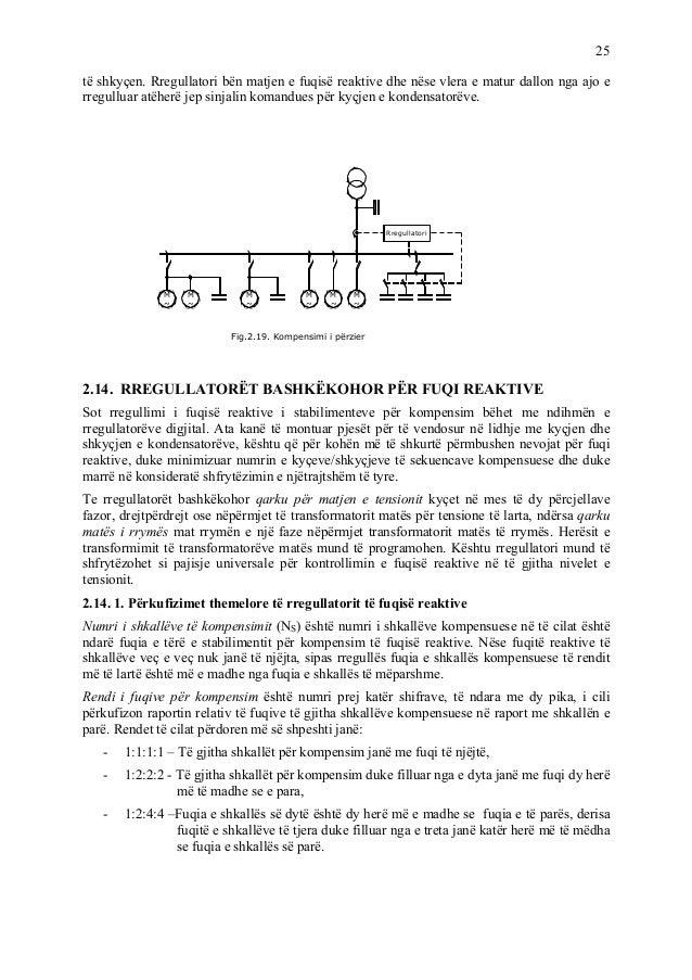 25 të shkyçen. Rregullatori bën matjen e fuqisë reaktive dhe nëse vlera e matur dallon nga ajo e rregulluar atëherë jep si...