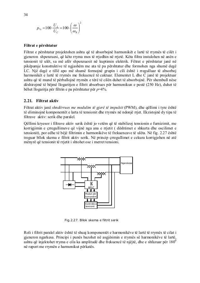 34 2 % 100100 RC L U U p iltrat e përshtatur iltrat e përshtatur projektohen ashtu që të absorbojnë harmonikët e lartë të ...