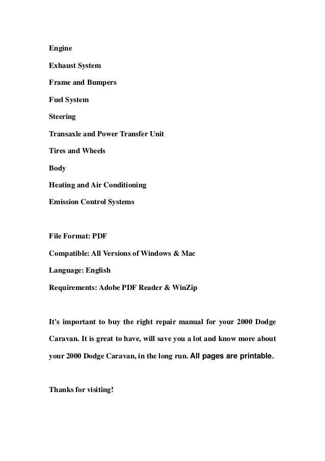 2000 dodge caravan owners manual pdf online user manual u2022 rh geniuscreative co 1998 Dodge Grand Caravan Problems 2000 Dodge Grand Caravan