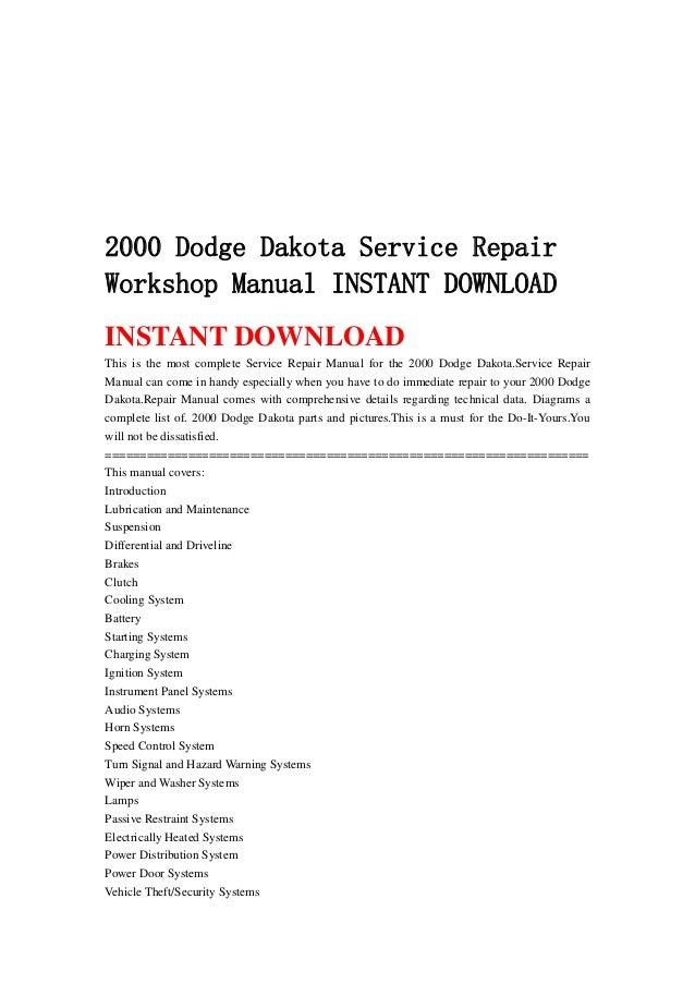 2000 dodge dakota service manual