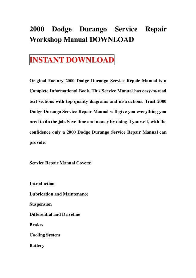 2003 Dodge Dakota Service Manual Pdf