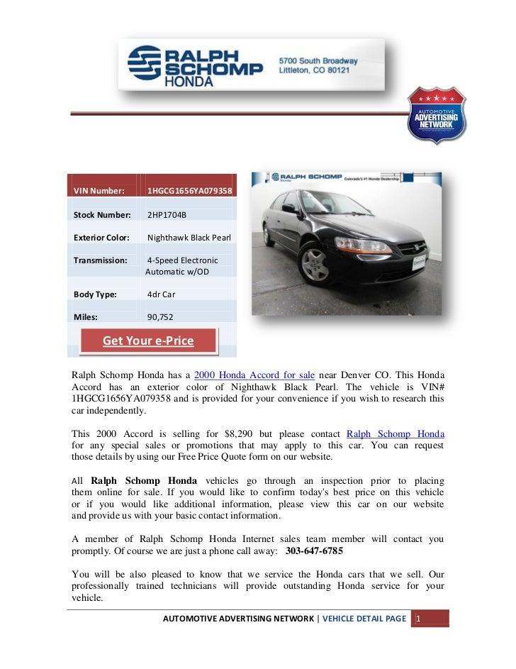 Ralph Schomp Honda >> 2000 Honda Accord Denver