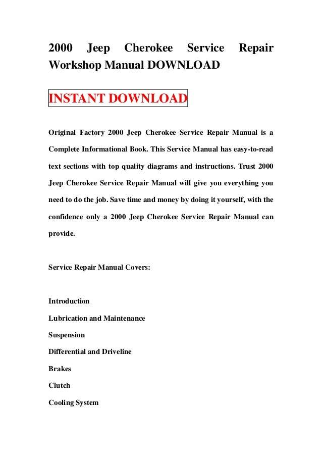 2000 jeep cherokee service repair workshop manual download