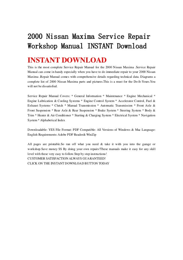 2000 Nissan Pathfinder Service Manual Pdf