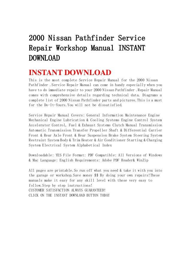 Manual pathfinder pdf 2000 nissan service