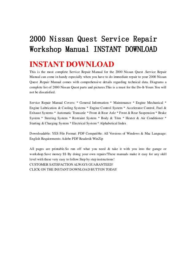 2000 nissan quest service repair workshop manual instant download rh slideshare net 2000 nissan quest service manual 2000 nissan quest service manual
