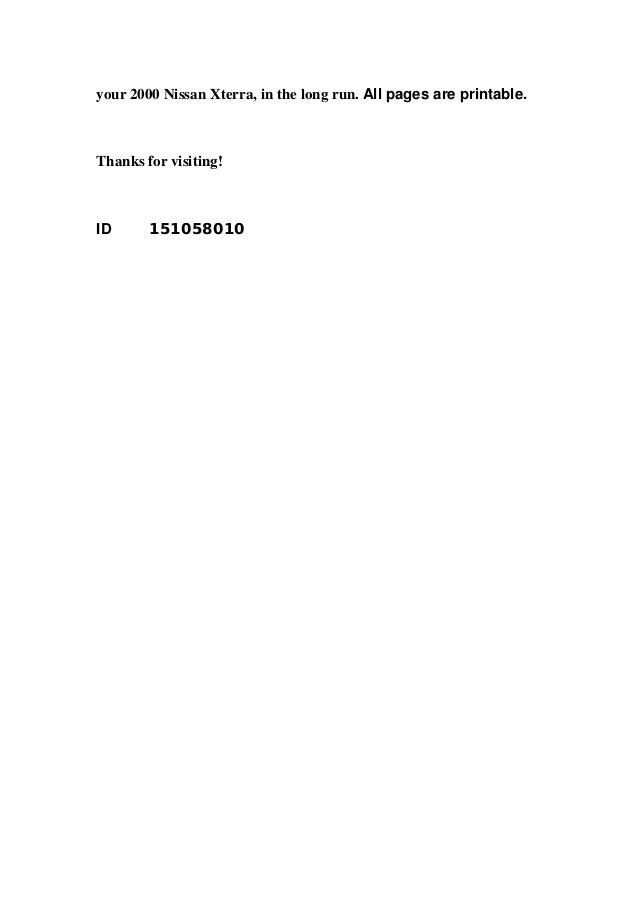 2000 nissan xterra repair manual download