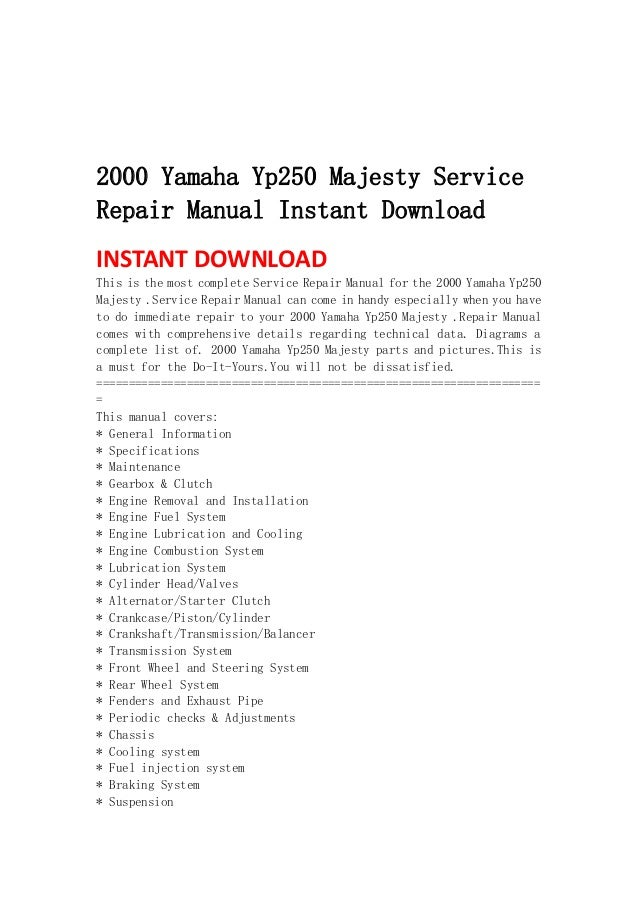 2000 yamaha yp250 majesty service repair manual instant download 1 638 jpg cb 1367401858 rh slideshare net Schematic Circuit Diagram Simple Wiring Diagrams