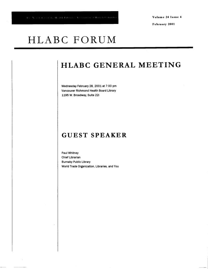 HLABC Forum: February 2001
