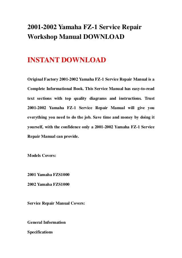 2001 2002 yamaha fz 1 service repair workshop manual download