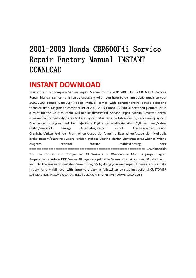2001 2003 honda cbr600 f4i service repair factory manual instant down rh slideshare net honda cbr600f4i service manual 2006 free honda cbr 600 f4i owners manual