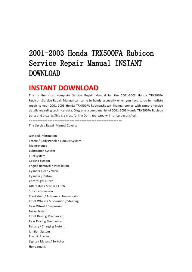 2001 2003 Honda Trx500 Fa Rubicon Service Repair Manual Instant Downl U2026