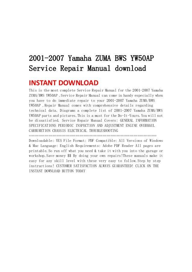 yamaha zuma yw50 pdf