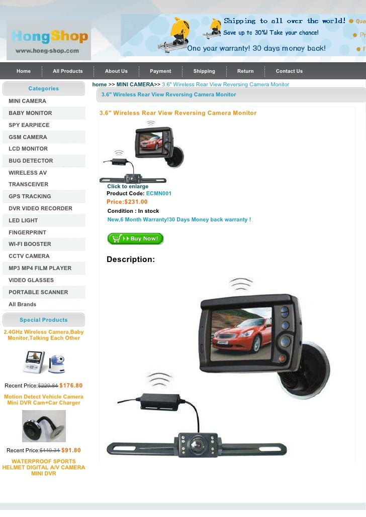 "3.6"" Wireless Rear View Reversing Camera Monitor"