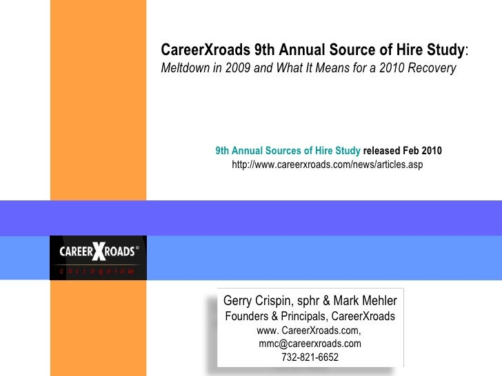 CareerXroads 9th Annual Source of Hire Study : Meltdown in 2009 and What It Means for a 2010 Recovery   9th Annual Sources...