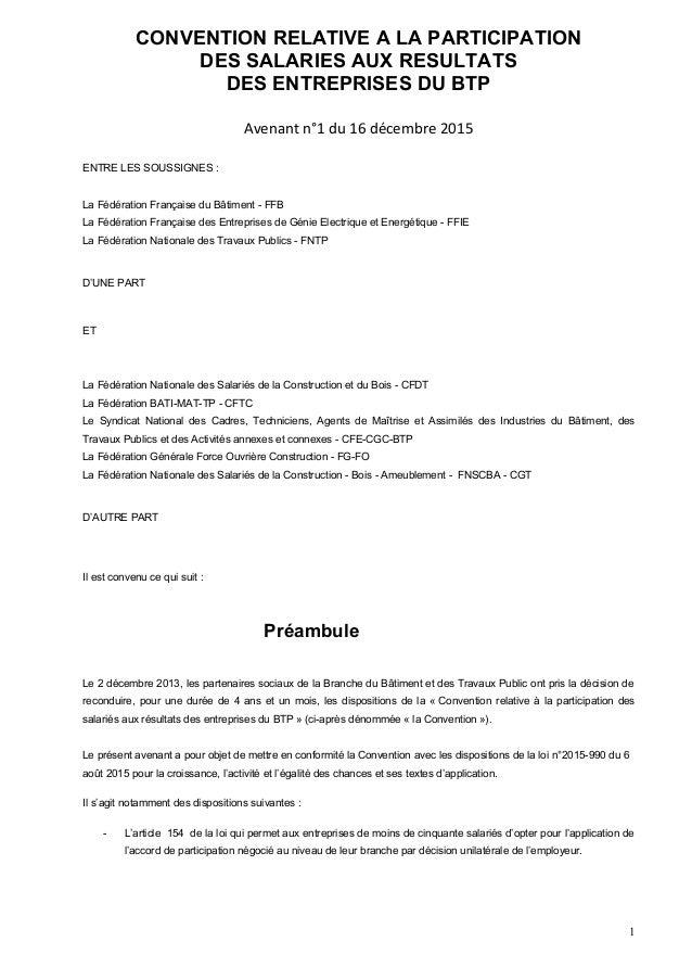 Avenant 1 mise en conformité loi macron secteur du BTP