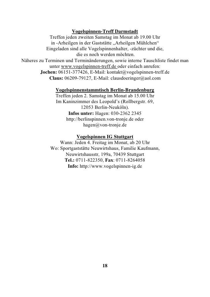 Vogelspinnen-Treff Darmstadt              Treffen jeden zweiten Samstag im Monat ab 19.00 Uhr               in -Arheilgen ...