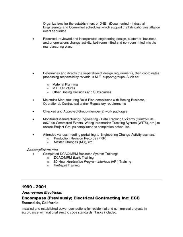material and change management 6 - Boeing Industrial Engineer Sample Resume
