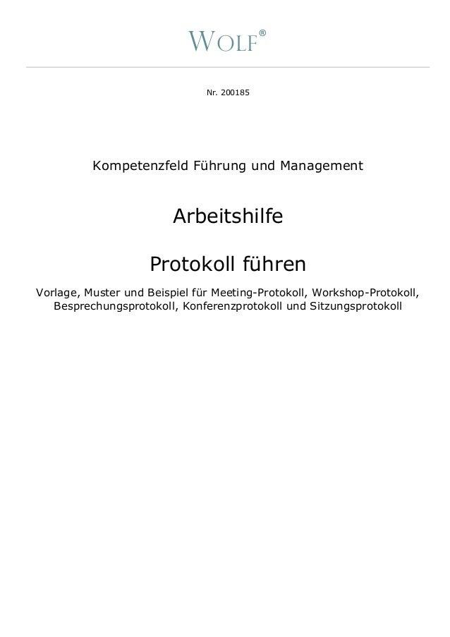 Arbeitshilfe Inkl Anleitung Muster Beispiel Protokoll Von Meeting