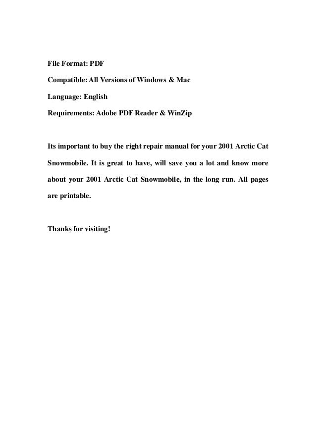 2001 Arctic Cat Snowmobile Service Repair Workshop Manual