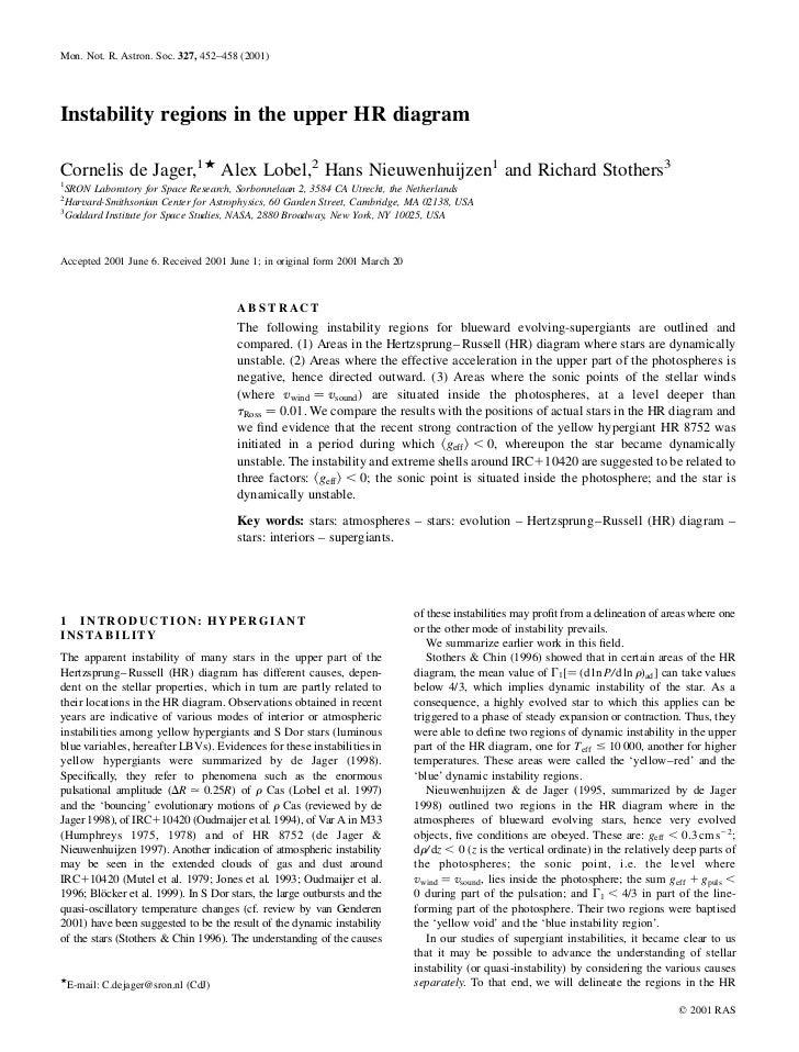 Mon. Not. R. Astron. Soc. 327, 452–458 (2001)Instability regions in the upper HR diagramCornelis de Jager,1P Alex Lobel,2 ...