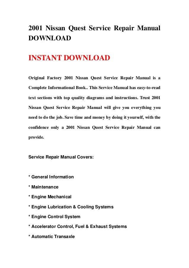 2001 nissan quest service repair manual download rh slideshare net 2001 Nissan Quest Problems Nissan Owners Manuals