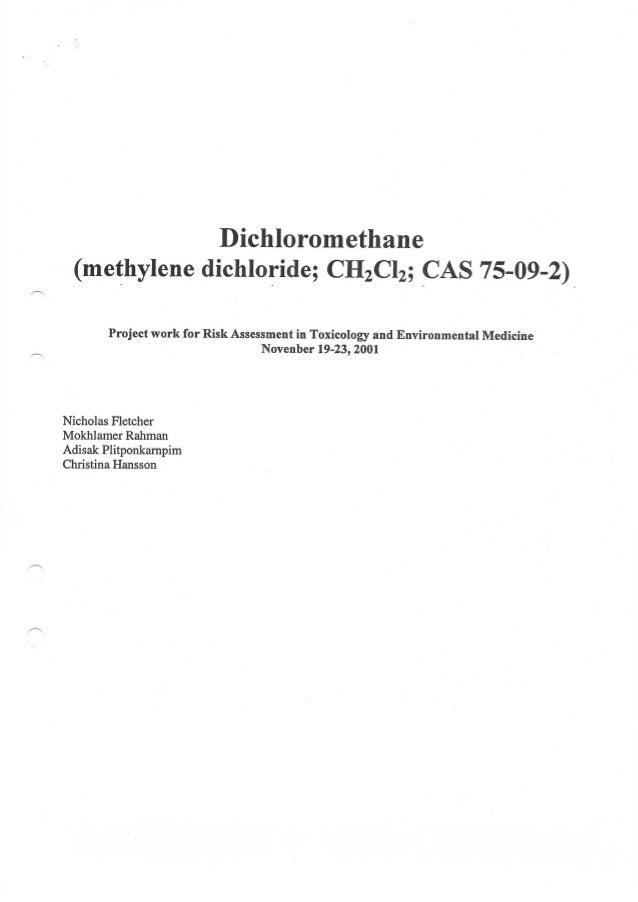 2001 risk assessment of dichloromethane