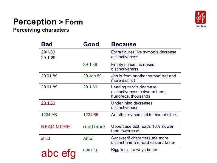 Perception  > Form Perceiving characters Bad Good Because 29 / 1 / 89 29 - 1 - 89 Extra figures like symbols decrease dist...