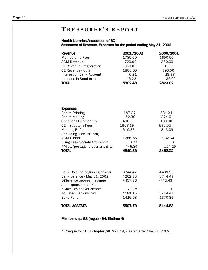 non profit treasurer s report sample - Kubre.euforic.co