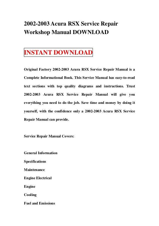2002 2003 acura rsx service repair workshop manual download rh slideshare net 2002 acura rsx shop manual acura rsx shop manual pdf