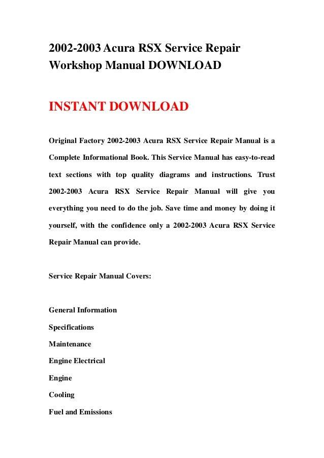 2002 2003 acura rsx service repair workshop manual download rh slideshare net 2002 acura rsx service manual 2004 acura rsx service manual