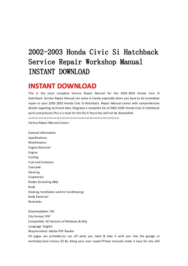 2002 2003 honda civic si hatchback service repair workshop manual ins rh slideshare net Honda Civic Parts 2006 Honda Civic Torque Specifications