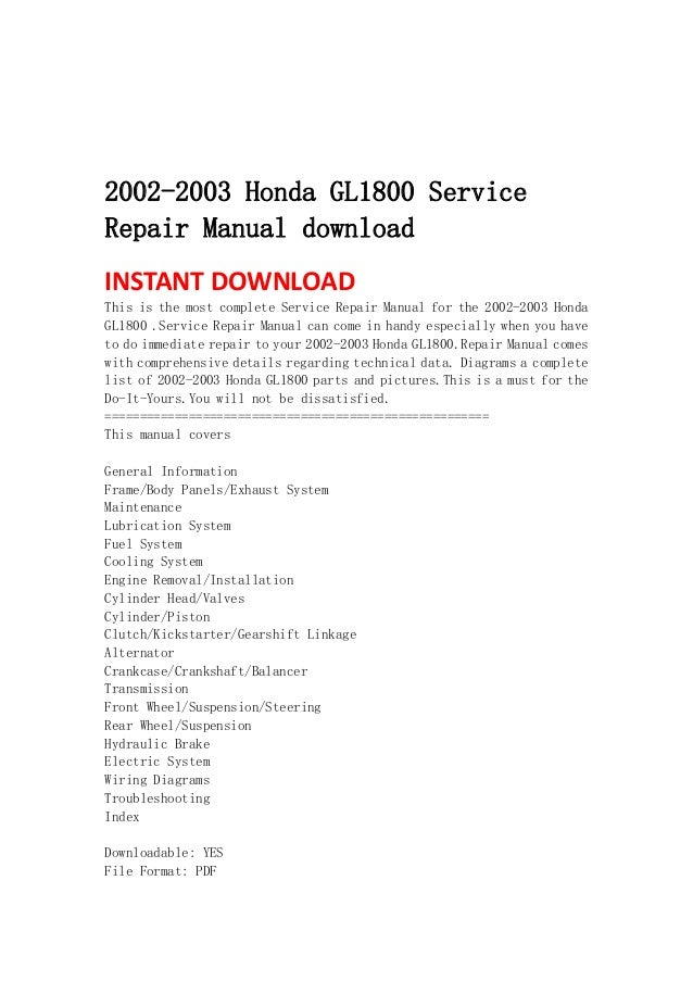 2001 2010 honda gl1800 goldwing workshop service manual by steve.