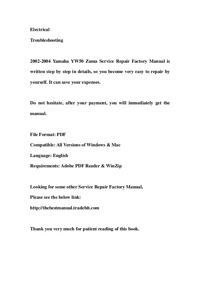 2002 2004 yamaha yw50 zuma service repair factory manual instant down