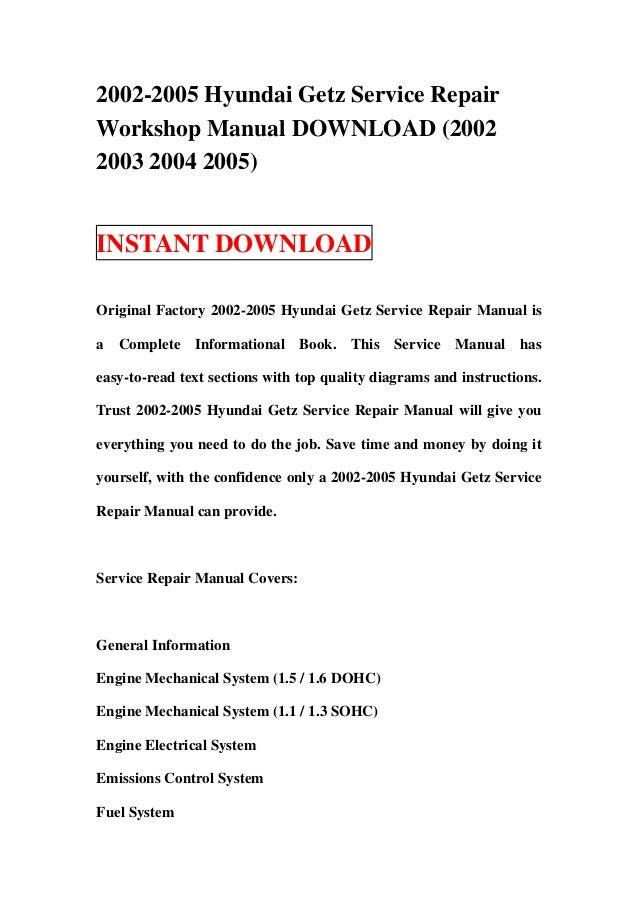 2002 2005 hyundai getz service repair workshop manual download 2002 rh slideshare net 2002 hyundai santa fe owners manual 2002 hyundai santa fe owners manual