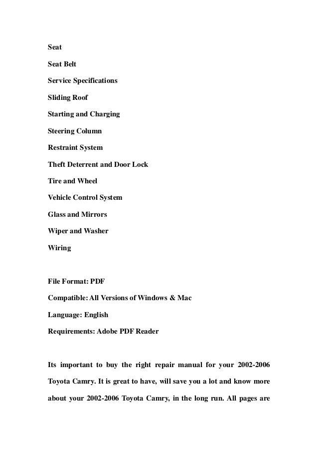 Toyota camry repair manual pdf dolapgnetband toyota camry repair manual pdf 2002 2006 toyota camry service repair workshop manual download 2002 toyota camry repair manual pdf fandeluxe Gallery