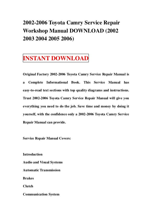 2002 2006 toyota camry service repair workshop manual download 2002 rh slideshare net 2006 toyota camry repair manual pdf free download 2006 toyota camry parts manual