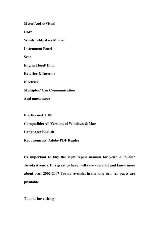 2002 2007 toyota avensis service repair workshop manual download 200 rh slideshare net Toyota Corolla 2018 Toyota Avensis