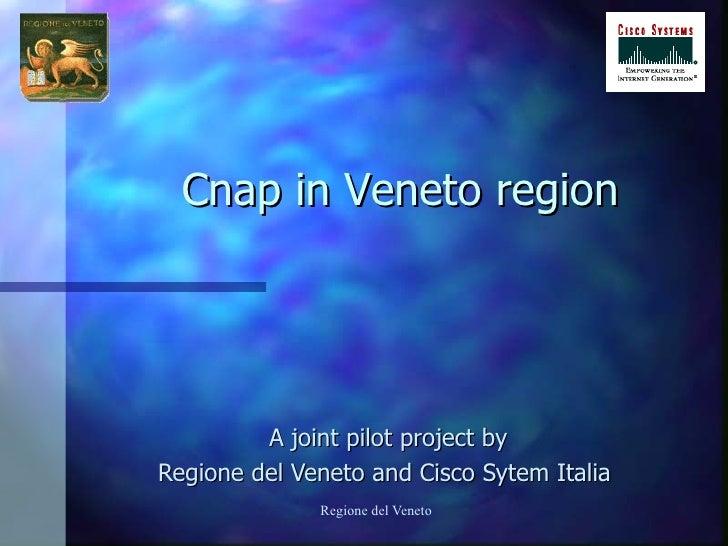 A joint pilot project by Regione del Veneto and Cisco Sytem Italia   Cnap in Veneto region
