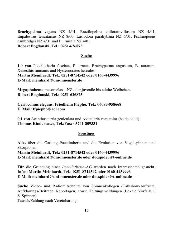 Brachypelma vagans NZ 4/01, Brazilopelma colloratovillosum NZ 4/01, Eupalestrus tenuitarsus NZ 8/00, Lasiodora parahybana ...